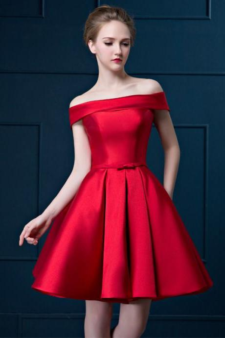 Red Short Evening Dress, Off the Shoulder Formal Dress, Lace-up Homecoming Dress, Special Occasion Wear Dress E003