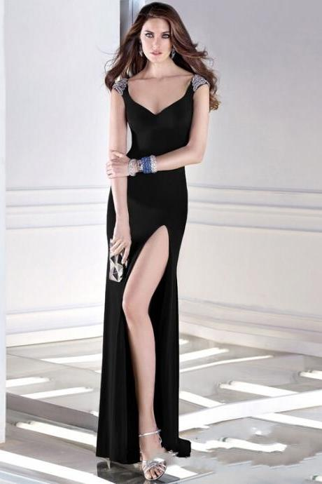 Black Long Cocktail Dress Sexy Prom Gown Slit Evening Dress Stretch Dress miss evening E029
