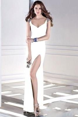 White Sequin Prom Gown Deep V neck Evening Dress Bodycon Party Dress miss evening E029