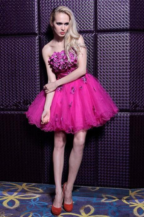 Rose Little Mini Short Ball Gown Floral Graduation Dress Cocktail Dress E034