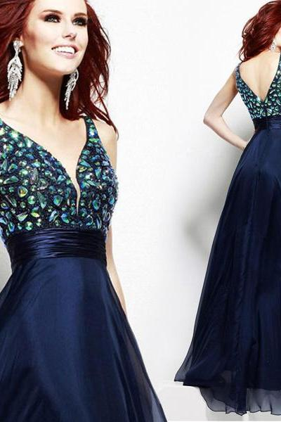 Deep V Neckline Sequined Long Evening Dress E038