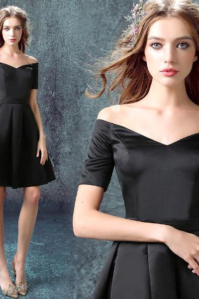 Elegant Little Black Dress Women Short Evening Dress E047