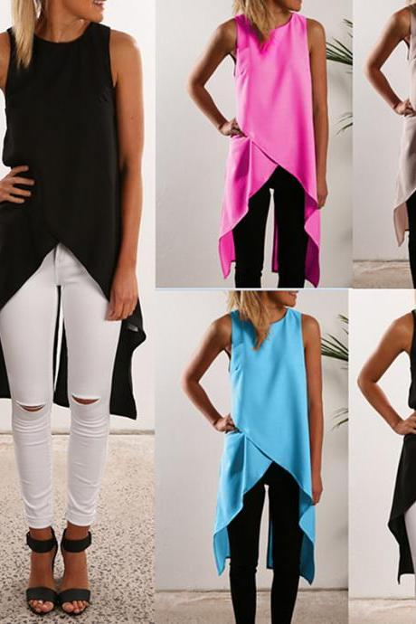 Asymmetric Cross Tank Tops Chiffon Vest Women Fashion Summer Top E089