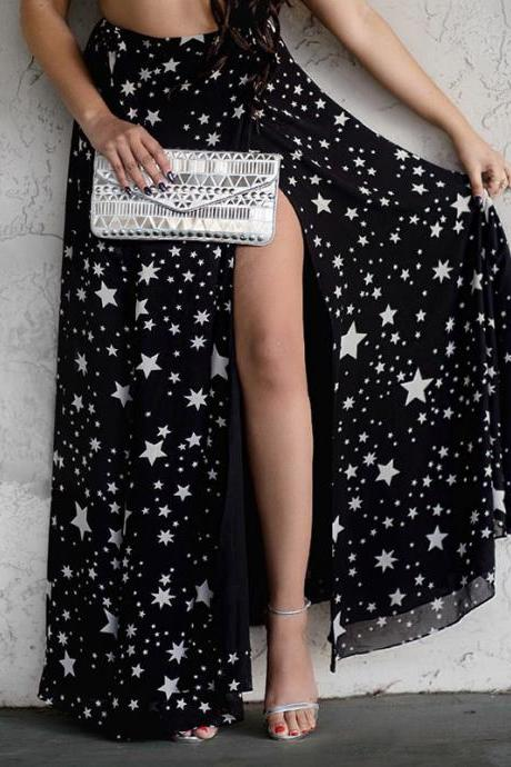 Black Star Print Maxi Chiffon Skirt Featuring Slit