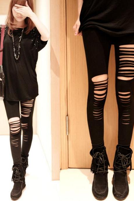 Fashion Black Hole Pants Asymmetric Leggings Skinny Pants Women Trousers E116