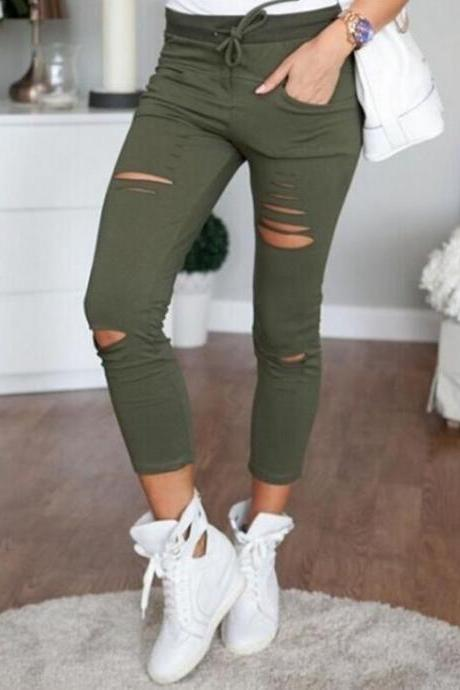 Army Green Hole Long Skinny Pants Hippie Cropped Jeans Stretchy Trousers E123