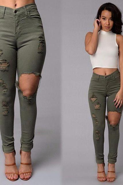 Army Green Skinny Pants Hole Hippie Pencil Pants Women Trousers E125