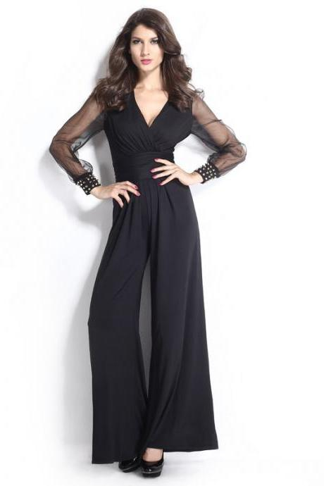 Black Gauze Sleeve Jumpsuit Women V Neck Jumpsuits E131