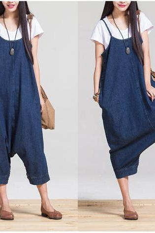 Hippie Jeans Denim Pants Women Suspender Jumpsuit Cowgirls Overalls Wide Leg Trousers E201