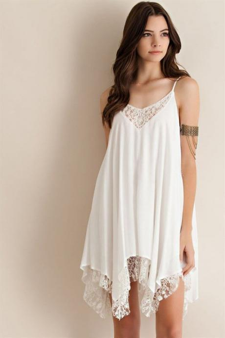 Women Summer Fashion Stitching Lacework Chiffon Shirt Dress Asymmetrical Blouse Top E228