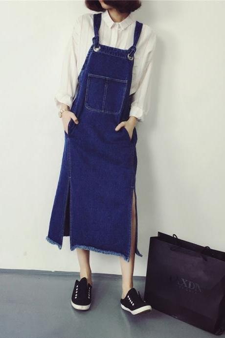 Split Blue Denim Suspender Dress E289