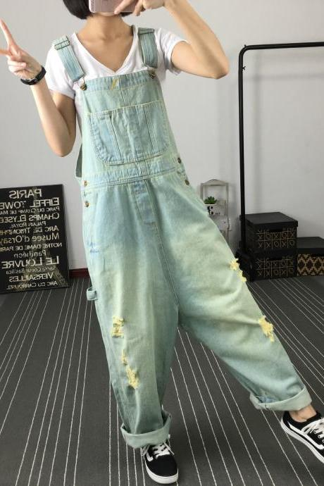 Hip Hop Hole Stylish Overalls Suspender Trousers E297