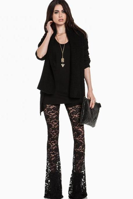 Hollow Out Lace Bellbottoms Flares Pants