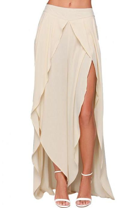 Asymmetrical Long Chiffon Skirt