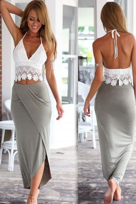 Two Pieces White Lace Top and Grey Skirt