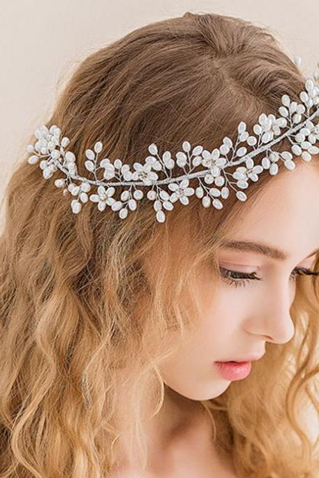 Twist Pearl Flower Handband Wedding Bridal Jewelry Headpiece Prom Hair Band Head Accessories FREE SHIPPING