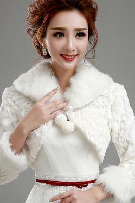 Artificial Fur Wedding Wraps, Winter Evening Night Fur Stole Shawl, Bridal Fur Cape