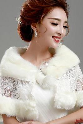 White Lace and Fur Capes For Wedding, Winter Evening Party Fur Wrap Shawl Stole