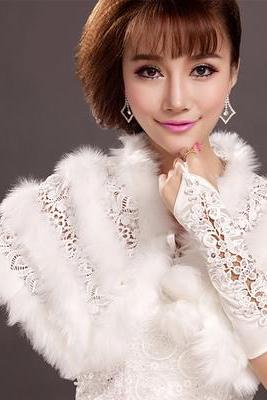 Perfect Lace Fur Stole Wrap Shawl Cape For Wedding Prom Evening Party