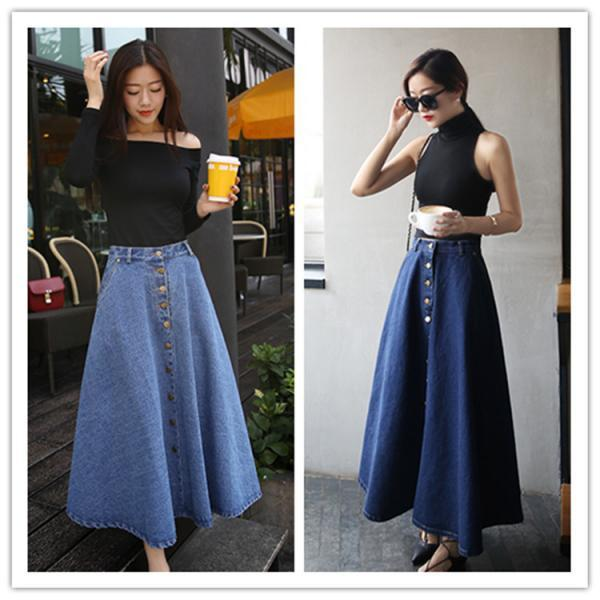 Denim skirts | Denim midi skirt, flared denim skirt | Luulla